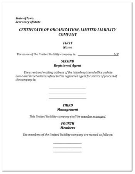 Free Certificate Of Organization For Llc In Iowa Iowa Nonprofit Articles Of Incorporation Template