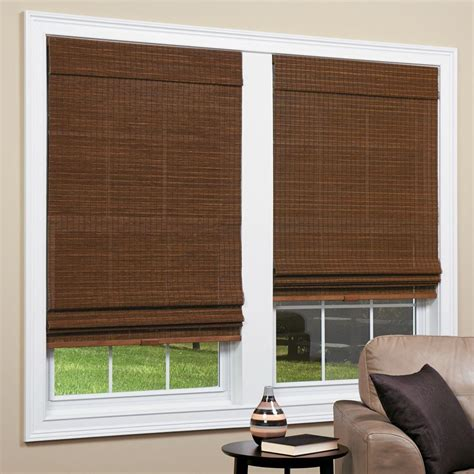 home depot l shades homebasics panama natural woven bamboo cordless roman