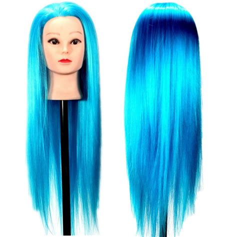 mannequin heads with long hair blue synthetic long hair hairdressing training mannequin