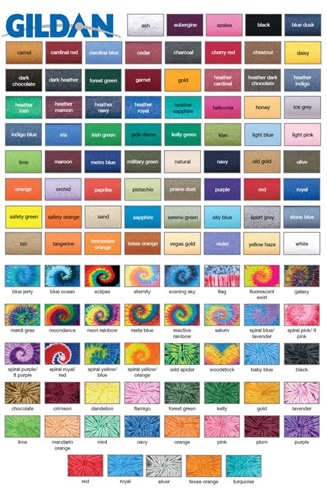 gildan tshirt colors common t shirt brands blank color swatches fetch