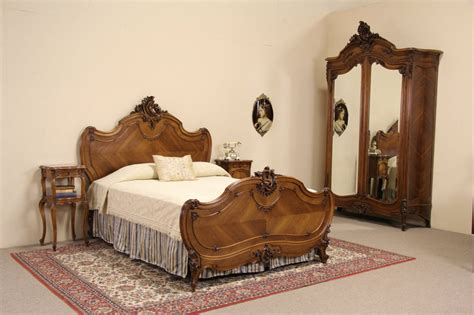 sold french queen size  pc antique  carved walnut