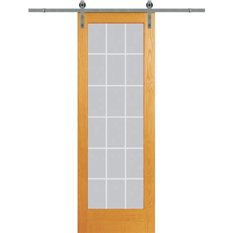 Sliding Barn Door Home Depot Pinecroft 34 In X 97 In Glass Barn Door With Sliding Door Hardware Kit 8bdgl3296op The Home