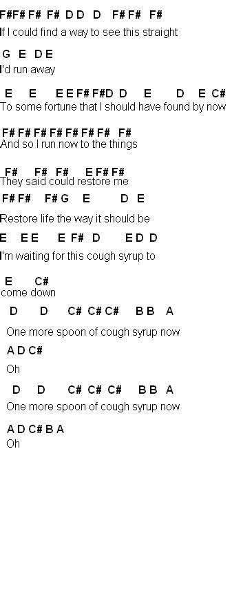 cough syrup song flute sheet music cough syrup
