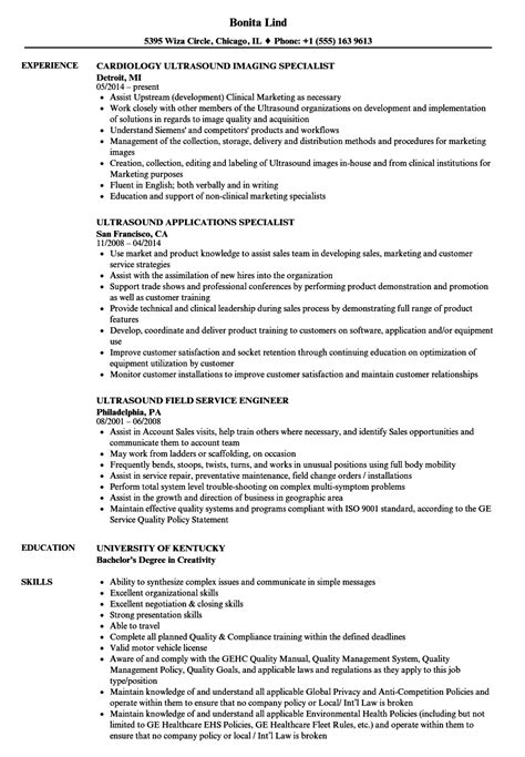 Ultrasound Application Specialist Cover Letter by Ultrasound Applications Specialist Resume Format