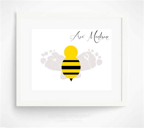 Bumble Bee Nursery Decor Baby Nursery Decor Bumble Bee Baby Footprint By Pitterpatterprint