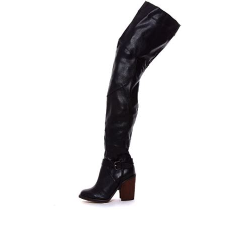 jeffrey cbell black thigh high boot