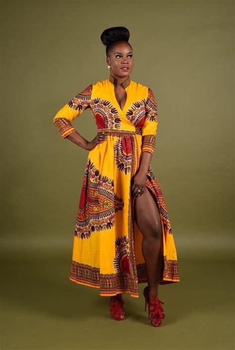 nigerian african dress rahyma yellow dashiki wrap dress african fashion ankara