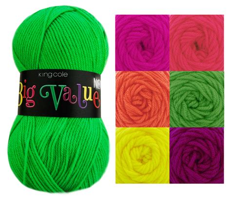 King Cole Big Value Neon Knitting Yarn 100 Acrylic