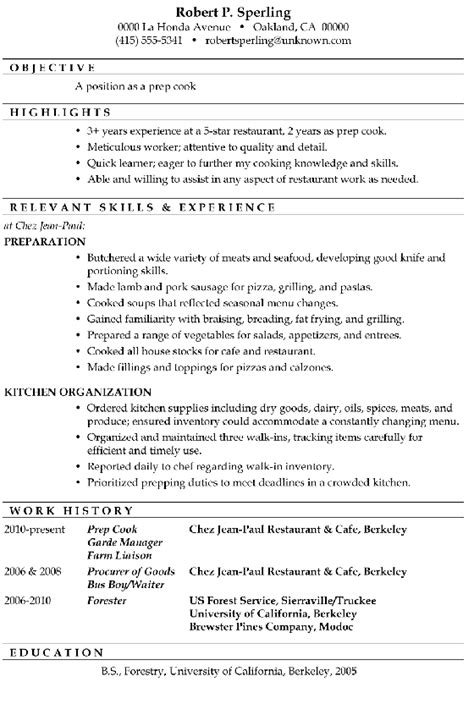 cooking resume templates resume templates 2017