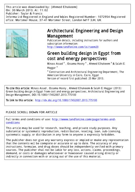 green building design  egypt  cost  energy perspectives journal  architectural
