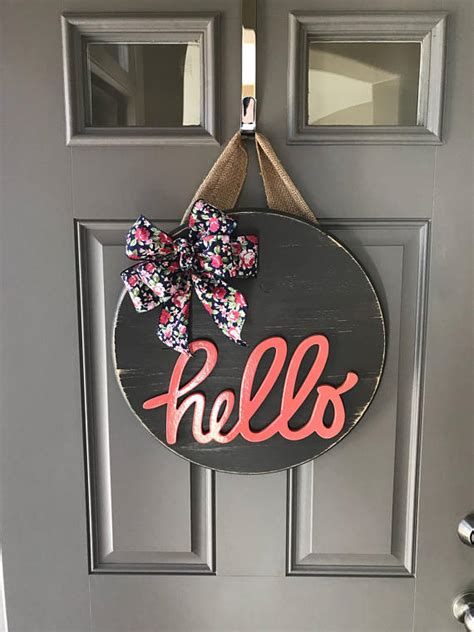Hanger Hello hello door hanger door hanger wood wreath year
