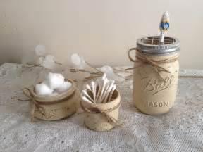 Mason Jar Bathroom Chalk Painted Ball Mason Jar Bathroom Set Of 3 Ebay