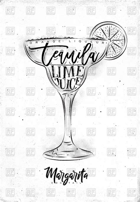 margarita clipart black and white margarita cocktail with lettering liqueur tequila and