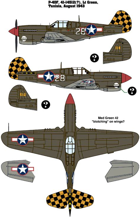 curtiss p 40f warhawk usaaf two color camouflage color profile and paint guide