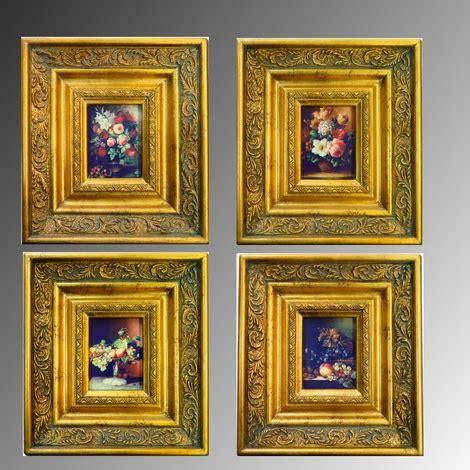 quadri con cornici quattro quadri mini con cornice classica oro fiori e