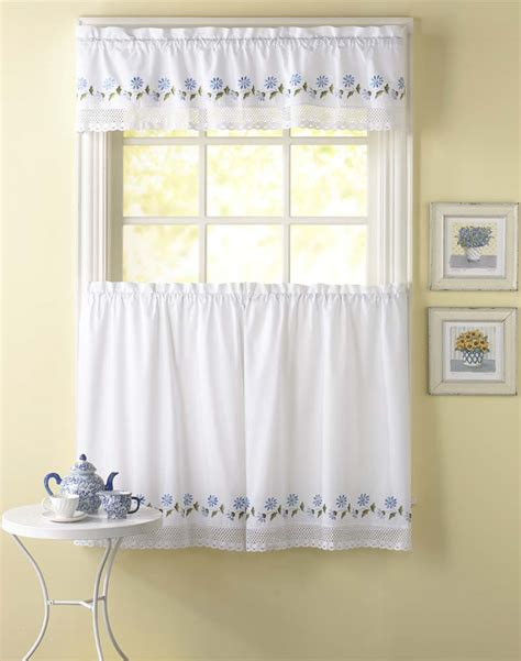 Curtain Valances For Kitchens Leighton Crochet Trim Kitchen Curtains Curtainworks