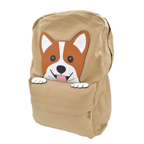 puppy backpack for school bags purses bags premium adorable peeking corgi puppy canvas backpack