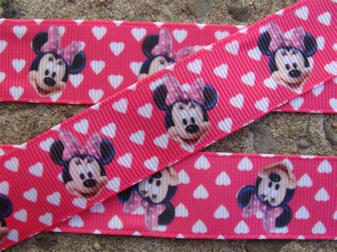 3 yards minnie mouse printed ribbon 7 8 quot grosgrain ribbon pink ribbon hearts ribbon mouse