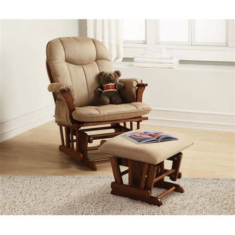 Baby Gliders And Ottomans Baby Relax Deluxe Glider Rocker And Ottoman Walnut Walmart
