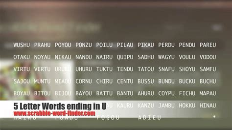 5 letter words ending in u
