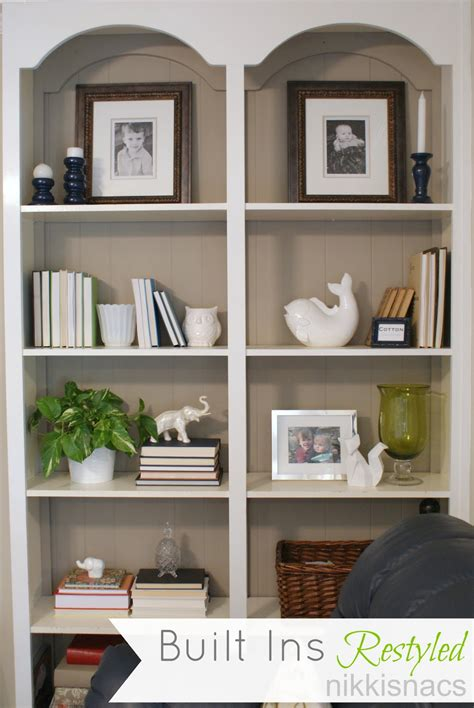 decorating a bookshelf nikkis nacs the built ins restyled