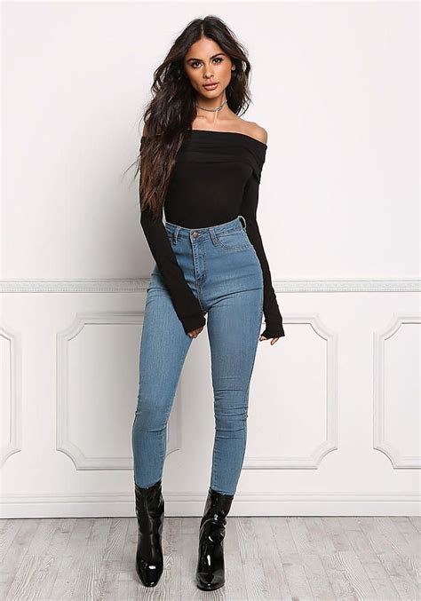 black thin jersey knit  shoulder top tees tops