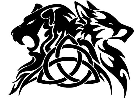 liontriquetrawolf tattoo by nessie walkure louve on deviantart