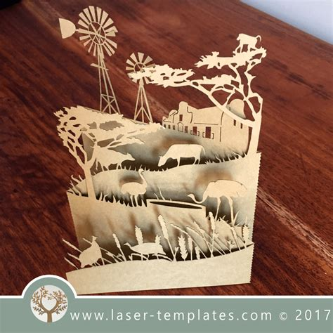 laser cut popup card template laser cut farm pop up card template vector