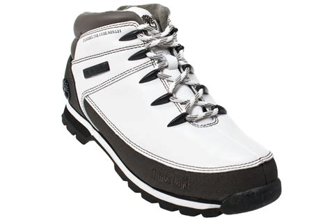 white mens boots timberland eurosprint mens white leather black ankle boots