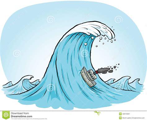 giant wave climb stock illustration image 42073061 - Cartoon Boat Waves