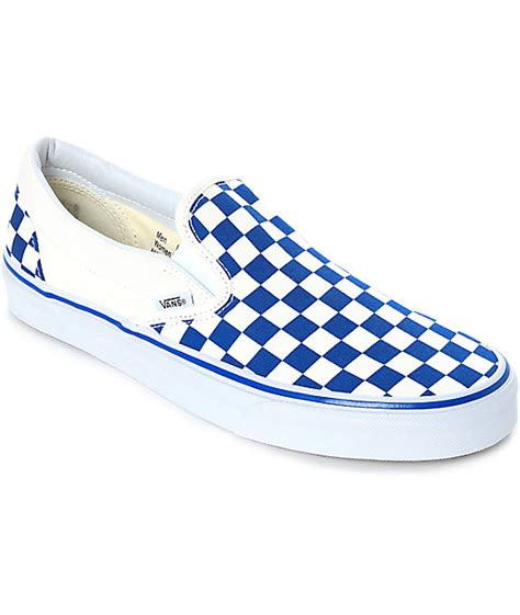 light blue slip on vans vans slip on blue white checkered skate shoes zumiez