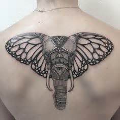 butterfly elephant tattoo don t know what it says but i love it wish list