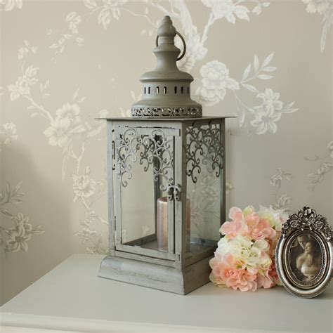 shabby chic lantern grey green fretwork candle lantern shabby vintage chic wedding light home gift ebay