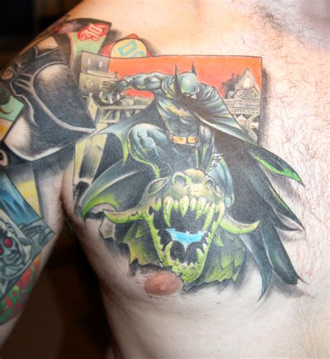 chest batman tattoo