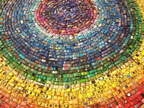 rainbow cars a rainbow mandala made of toy cars