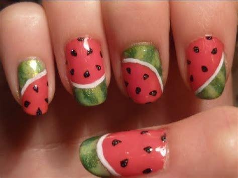 tutorial watermelon nail design simple summer watermelon nail art tutorial youtube