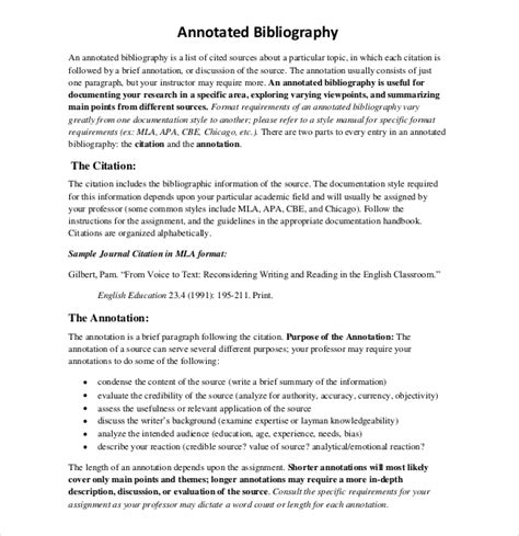 annotated bibliography template 10 free annotated bibliography templates free sle