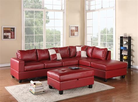 sectional couch with ottoman g309 sectional sofa in red bonded leather by glory w ottoman