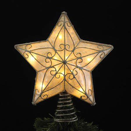 five star lighted tree top 11 quot lighted 5 point capiz with silver scroll design tree topper walmart
