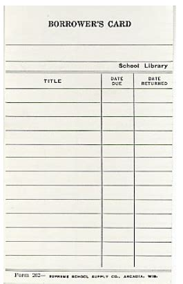 library catalog card template school ephemera vintage paper library pockets tickets