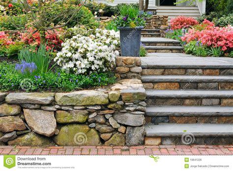 stone wall steps  planter stock photo image