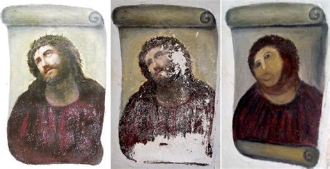 Jesus Painting Restoration Meme - botched ecce homo painting know your meme