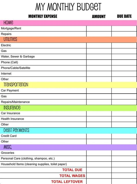 17 Best Ideas About Monthly Budget Template On Pinterest Monthly Budget Sheet Budget Best Budget Template