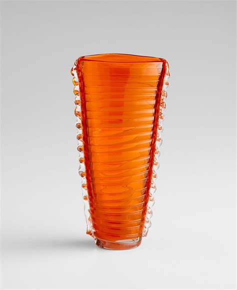 Orange Vases Accessories by Small Orange Clear Dollie Glass Vase By Cyan Design