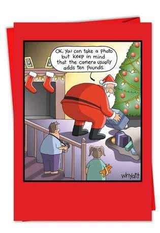 santa fat joke funny cartoon christmas greeting card