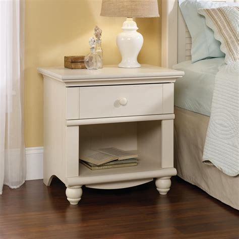sauder harbor view  drawer antiqued white nightstand   home depot
