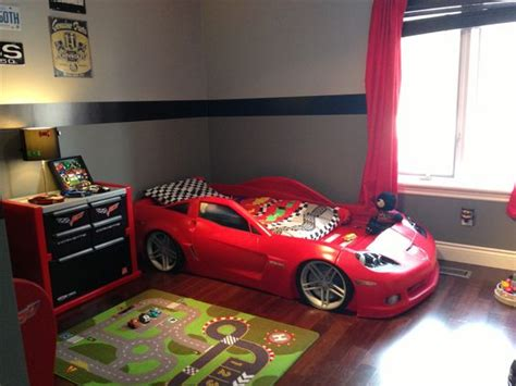 boy got a big boy room and a cool corvette bed