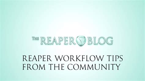 reaper workflow reaper workflow tips from the community the reaper