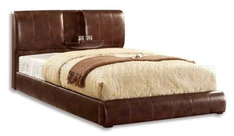 Fabric Platform Bed Cm7027br Webster Platform Bed Brown Padded Leather Like Fabric