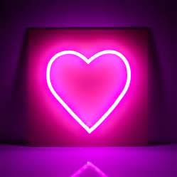 pink heart led neon